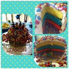 An incredible wiggly rainbow inside the cake! #thewiggles #wigglyparty #cake #wigglescake #partyideas