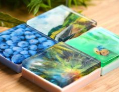 Glycerin soap made with water soluble printed paper.
