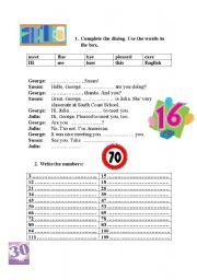 English worksheet: complete the dialogue and write the numbers