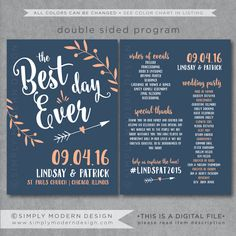 the best day ever, wedding program, ceremony, wedding fan, program fan, PRINTABLE by SimplyModernDesignx on Etsy
