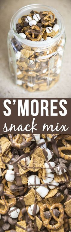 S'mores Snack Mix - oh my! This 4 ingredient snack mix is so simple to make, and it has the same great flavors of s'mores. It's the perfect snack, or late night Shimmer and Shine Sleepover Party treat. Yummy Snacks, Delicious Desserts, Yummy Food, Quick Snacks, Simple Snacks, Healthy Late Night Snacks, Girls Night Snacks, Late Night Munchies, Snacks Kids