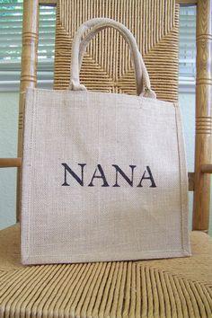 Nana tote Burlap bag Mimi gift Abuela gift by KelleysCollections