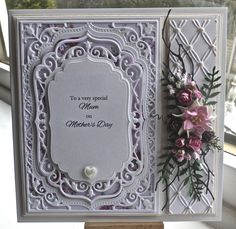 Happy Mother's day, especially to my lovely Mom. (LOVE YOU MOM) Anyway todays card is using SB grand squares,  my new SB die 5x7 elegant labels four, SB labels four nestabilities, memory box woodla...