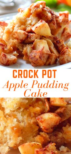 Crock Pot Apple Pudding Cake - Warm apples topped with cinnamon a fluffy cake with a thick pudding flavored with orange. Crock Pot Apple Pudding Cake - Warm apples topped with cinnamon a fluffy cake with a thick pudding flavored with orange. Apple Crockpot Recipes, Slow Cooker Recipes, Gourmet Recipes, Crockpot Dessert Recipes, Yummy Recipes, Salad Recipes, Crock Pot Desserts, Köstliche Desserts, Delicious Desserts