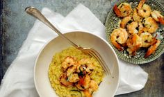 Italian risotto with grilled shrimps and saffron.
