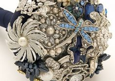 Navy broach bouquet -play on your wedding colour instead of all silver...