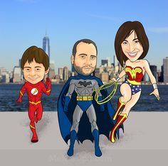 Superhero+Family+Caricature