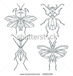Insect icons, vector set. Abstract triangular style. mantis, grasshopper, ant, weevil beetle