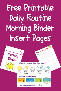 Bed Rested Teacher: Daily Morning Binder Printable Page Inserts Life Skills Classroom, Autism Classroom, Special Education Classroom, School Classroom, Classroom Activities, Kids Education, Classroom Organization, Classroom Management, Classroom Ideas