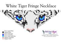 White Tiger Eyes Fringe Necklace for Downloadable Pattern or Bead Graph for Beading