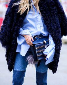 bulgari bag | fashion details | street style | blue basic shirt