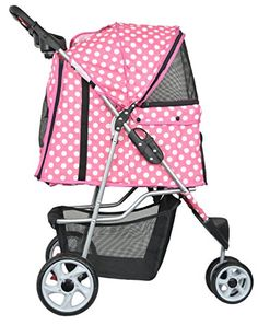 VIVO Three Wheel Pet Stroller, for Cat, Dog and More, Foldable Carrier Strolling Cart, Multiple Colors (Pink & White Polka Dot)