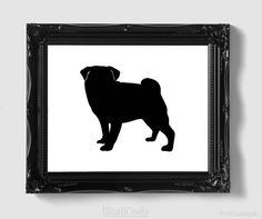 Pug Silhouette - Hand-cut Original Dog Art - Personalization, Multiple Colors and Backgrounds Available on Etsy, $18.00
