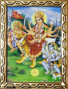 Vaishno Devi with Hanuman and Bhairav (Reprint on Paper - Framed) Durga Maa, Durga Goddess, Hanuman, Ambe Maa, Vaishno Devi, Tiger Painting, Mother Goddess, Radha Krishna Love, Paper Frames