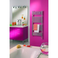Perfectly pink bathroom. Bright Fushia pink! Very bold.  Product image for Zehnder Atoll Heating Only Radiator