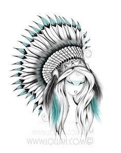 Indian Headdress Art Print by LouJah - X-Small Doodle Drawings, Cartoon Drawings, Hipster Drawings, Animal Drawings, Native Indian Tattoos, Indian Drawing, Desenho Tattoo, Tatoo Art, Native American Art