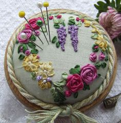 PP9  Roses and Wisteria Pincushion Pattern & Print  Kit. $15.95, via Etsy.