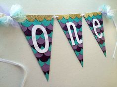 """MERMAID PARTY FIRST BIRTHDAY HIGH CHAIR """"ONE"""" Glitter Banner for baby girl's first birthday by Banana Lala on Etsy"""