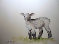 Black Lamb painting  original Sheep nursery watercolor by 4WitsEnd, via Etsy