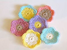 Crochet Face Scrubbies, Facial Cleansing Pads, Washcloth, Makeup Removers.  6 in the set as pictured available on Etsy