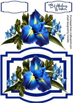 Beautiful Iris and Bell Flowers  on Craftsuprint designed by Ceredwyn Macrae - A lovely card to make and give to anyone with Beautiful Iris and Bell Flowers a lovely card has one greeting tag and a blank one , - Now available for download!