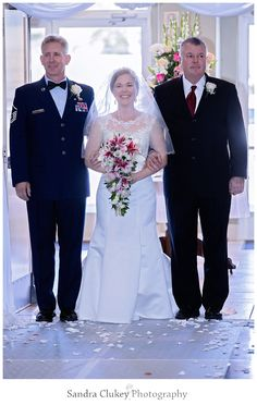Here comes the bride and two dads! Hampton VA. Sandra Clukey Photography. Serving beautiful Tennessee and destination weddings nationally and internationally.  Book your photographer now! 423-342-4198. Photo Copyright of SandraClukeyPhotography.com. #SandraClukeyPhotoghraphy  #HamptonVAWeddings #TennesseeWeddings #ClevelandTennesseeWeddings