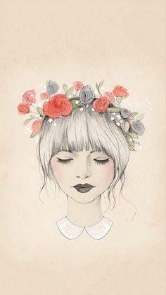 Flower Crown ✿ Illustration By Kelli Murray ღ Cute Girl Drawing Art And Illustration, Watercolor Illustration, Art Design, Design Model, Interior Design, Art Inspo, Painting & Drawing, Drawing Tips, Drawing Ideas