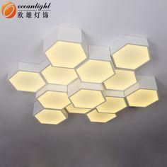 Contemporary hexagon Alumunum +Arcrylic+ LED shape energy saving ceiling lamp LED source OXW9928-3