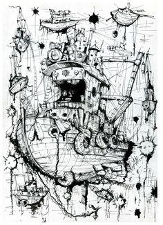 Рисунок кораблей.Летающие корабли,Капиллярная ручка, тушь. Автор Любимов Алексей/Autor Alexei Lubimov