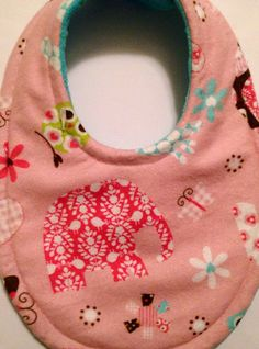 Baby Bib Damask Zoo Absorbent Triple Layer Bib Mom Approved on Etsy, $7.99