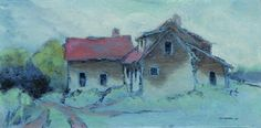 "Andy Newman, ""House at a Hill's Edge (Soamsville)"" 7.5x14.75in., oil on boxed panel"