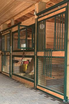 """Custom photos of RAMM welded horse stalls with a powder-coated green finish from Jody in Nebraska! """"We absolutely love these fronts! The doors glide like I've never seen a barn door do and they give my stalls an open feeling to them my horses love."""" #equestrian #horsestalls #horses #horseproperty #equestrianproperty #barn #farm #horse #equine #farmlife #ranch #horsestable #rammstalls #customstalls #nebraska"""