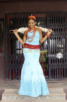 """The bride, Jennifer shares, """"I met him a year ago at a Singles' Day program organised in church. African Attire, African Wear, African Dress, African Fashion, Coral Jewelry, Jewelry Sets, Igbo Bride, Nigerian Beads, Bellanaija Weddings"""