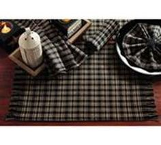 Cambridge Table Runner 13X36 Black Barn Red Golden Tan Plaid Ribbed Cotton