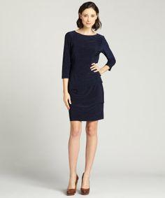 Tahari ASL : navy stretch jersey three quarter sleeve dress : style # 326561202 #sfw #pretatravailler