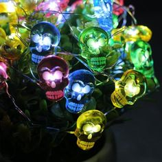 40 Super Bright LED Ghost Lights on Longs Ultra Thin Wire. 20 Inches Clear Cable Between Wire and Battery Box - Low power consumption with a long service time, safe and reliable. Colorful Skulls, Day Of The Dead, String Lights, Save Energy, Christmas Bulbs, Led, Halloween, Holiday Decor, Cable