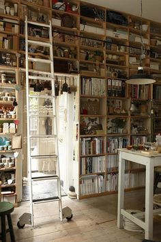 art studio - bookshelf with more than just books :)