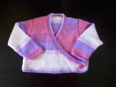 Handmade knitted baby girls ballet style wrap over by BulldogKnits, £18.00