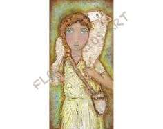 Sacred Heart Jesus Folk Art Print from Painting 8 by FlorLarios