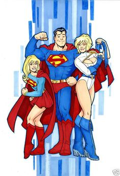 Supergirl, Superman and Power Girl by Amanda Conner