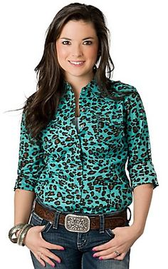 Ariat® Women's Turquoise and Brown Leopard Print Long Sleeve Western Shirt   Cavender's Boot City