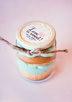 Food gift favor. Cupcake in a jar with pretty label.