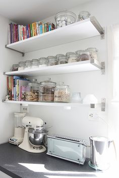 IKEA SPOTTED // EKBY BJÄRNUM aluminum brackets, EKBY AMUND shelf in white, SLOM jar with lid in various sizes [via Hvite tulipaner]