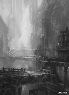 ArtStation - In Class Demo - Environment Design, by James Paick More concept art here. Matte Painting, Environment Concept Art, Environment Design, Fantasy World, Fantasy Art, Conceptual Architecture, Architecture Design, Sci Fi City, Arte Cyberpunk