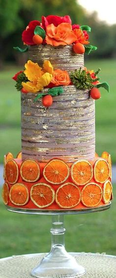 Orange Rustic Wedding Cake