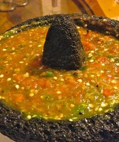 authentic mexican salsa Salsa Molcajeteada, homemade Mexican salsa in a mortar and pestle Authentic Mexican Recipes, Authentic Salsa Recipe, Homemade Mexican Salsa, Mexican Salsa Recipes, Mexican Dishes, Hot Salsa, Spicy Salsa, Habanero Salsa, Avocado Tomatillo Salsa