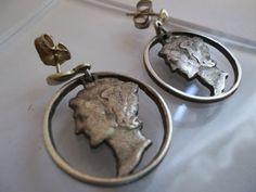 Antique MERCURY Silver Dime EARRINGS/ Handmade Hand-pierced Authentic Silver Coin Dangle earrings.