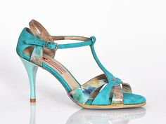 Women's tango shoe - Turquoise print - binicideri.com