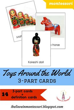 Toys around the World Montessori Cards Printables. Geography and culture study Montessori Classroom, Preschool Curriculum, Montessori Activities, Homeschooling, Classroom Ideas, Kindergarten, Montessori Practical Life, Traditional Toys, My Father's World