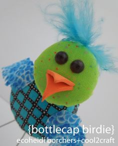 I'm in love with this adorable Bottlecap Birdie by EcoHeidi Borchers :)